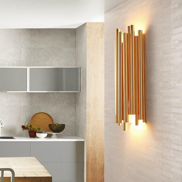 Modern gold aluminum wall lamp for living room
