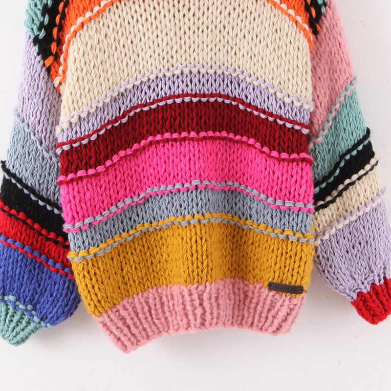 달콤한 레인보우 스트라이프 스웨터 여성 패션 오-넥 느슨한 풀오버 귀여운 소녀 대조 색 세련된 점퍼