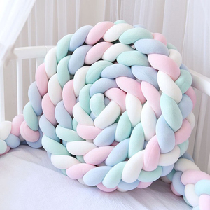 3M 4 Strands Baby Crib Bumper Knotted Braided Bumper Handmade Soft Knot Pillow Cushion Baby room Decor Crib Protector 7 Colors