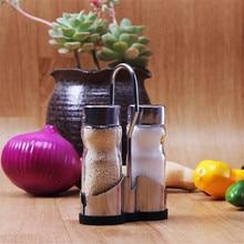 Кухонная стеклянная бутылка для приправ из нержавеющей стали, маленький резервуар для приправ из двух предметов, предметы первой необходимости, бутылка для приправ для приготовления пищи