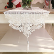 Lace Table Runner White tassel Table Runner Floral Table Cloth Boho Wedding party birthday Table Decoration(China)