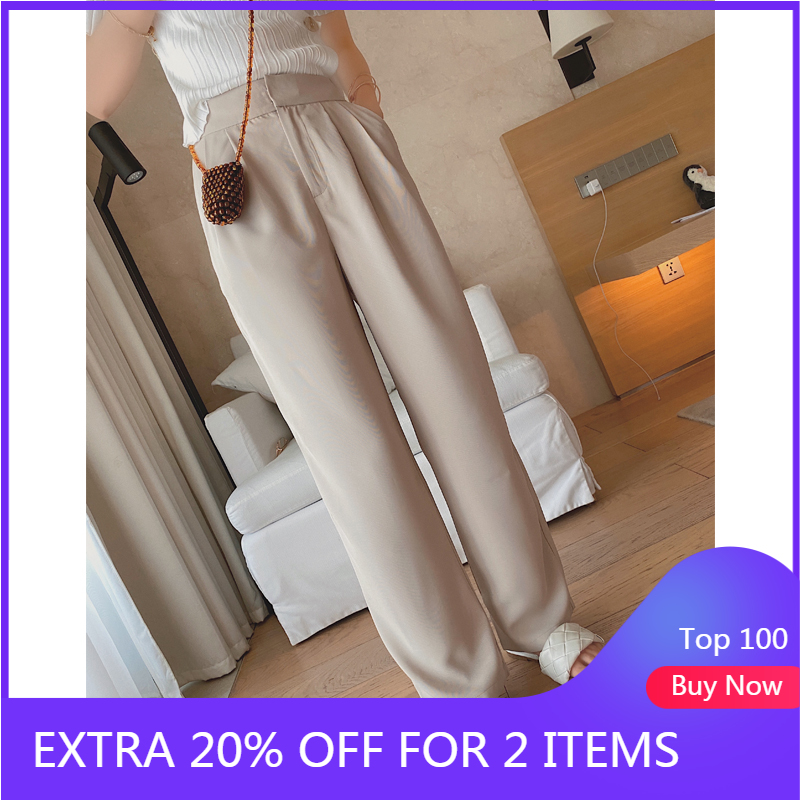MISHOW 2020 Spring Pants Women Solid High Waist Casual Straight Full Length Trousers Female  MX20B2587