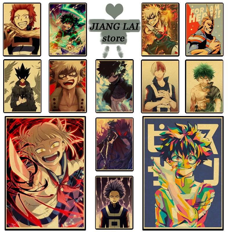 My Hero Academia series retro posters used to decorate the living room bedroom kraft paper material poster wall stickers