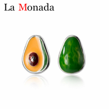 925 Silver Avocado Green Asymmetric Earrings Summer Stud Earrings Fruit Enamel Jewelry for Girls Kids Baby New Gifts