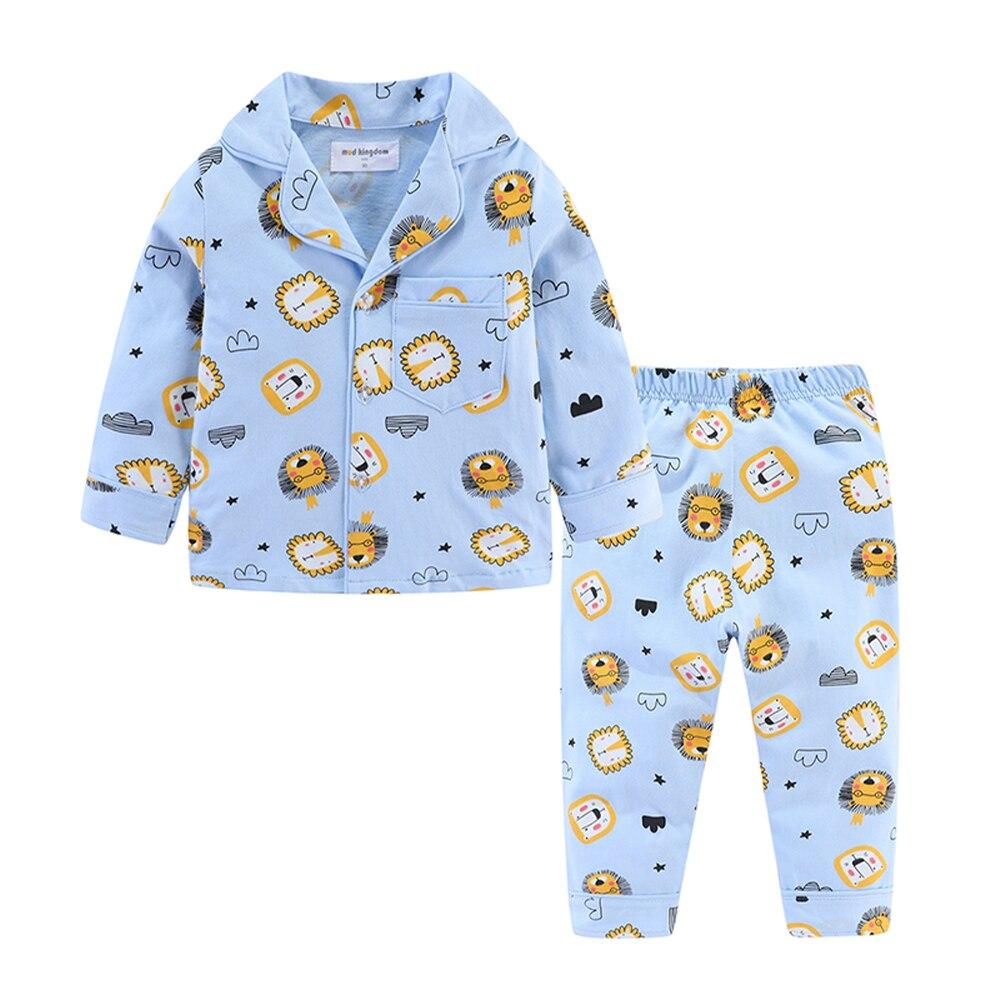 Mudkingdom Boys Girls Pajamas Set Callared Long Sleeve Cute Cartoon Autumn Toddler Pajama Kids Sleepwear Print Children Clothes 4