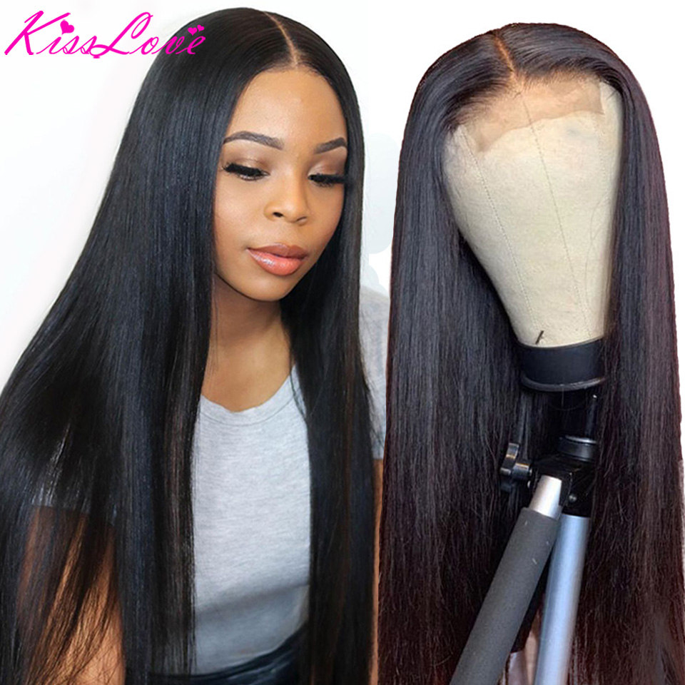 Kiss Love Brazilian Straight Lace Closure Wig 180% Density Pre Plucked With Baby Hair 4x4 Closure Wig Remy 100% Human Hair Wigs