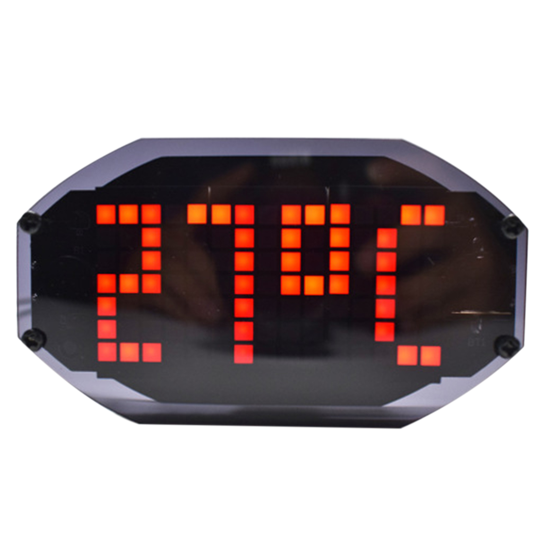 DIY LED Dot Matrix Desktop Clock With Temperature Holiday Birthday Reminder Function With Black Mirror Surface - Red