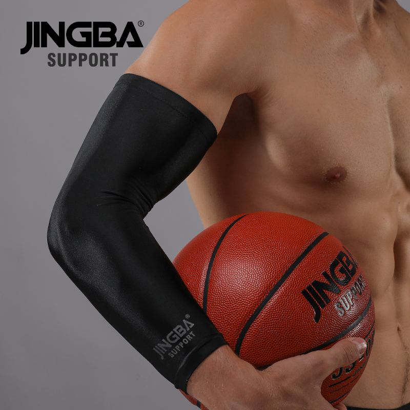 JINGBA SUPPORT 1Pcs Running Arm Sleeves Basketball Elbow Pad Armguards Cycling Sun Protection Arm Warmers Mangas Para Brazo