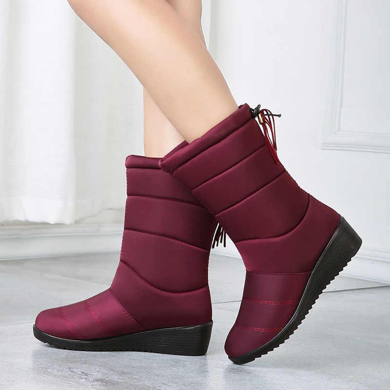 Botas de nieve a prueba de agua Botas de pantorrilla Botas de invierno de piel caliente Botas de Mujer zapatos de invierno