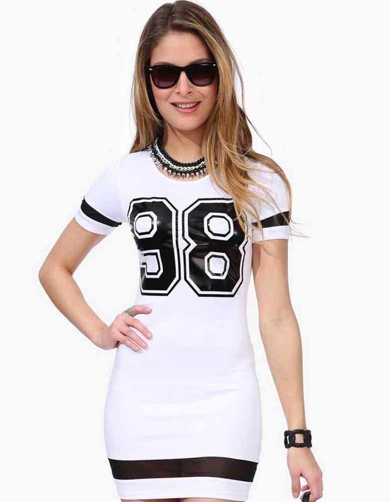 Mode Vrouwen Sport Jurk Nummer 98 gedrukt O-hals Baseball Sexy Toevallige Vestidos Korte Mouw Outdoor Plus Size
