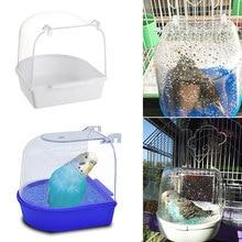 1 Pza de plástico pájaro caja de baño bañera loro para Perico pájaro amoroso jaula para mascotas Bol colgante Perico baño para pájaros