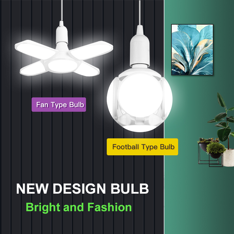 E27 Led Bulb Lamp 220V Ampoule Leds Football Lamps Bulbs Foldable Fan Blade Lights Adjustable 45W 40W 60W For Kitchen Lighting
