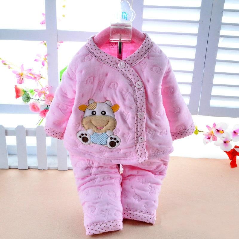 Rroba për fëmijë të porsalindur pambuk dimri vjeshtë Dendësi të trashë kartonash të trasha + pantallona 2 copë grupe për foshnje / vajza për fëmijë të vegjël kostum