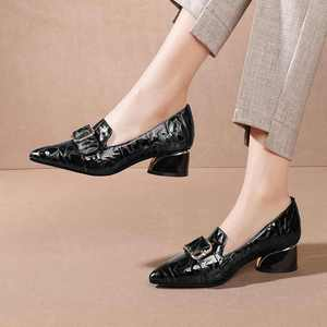 Image 5 - Krazing Pot print mixed colors cow leather fashion elegant belt buckle pointed toe med heels slip on spring daily wear pumps L40