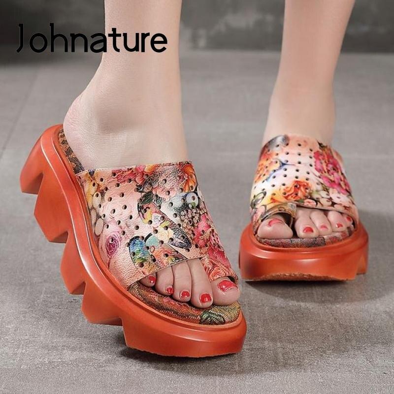 Johnature/тапочки на платформе; Женская обувь из натуральной кожи; Шлепанцы с цветочным рисунком; Новинка 2020 года; Летняя обувь для улицы; Повседневные женские тапочки на танкетке|Тапочки|   | АлиЭкспресс