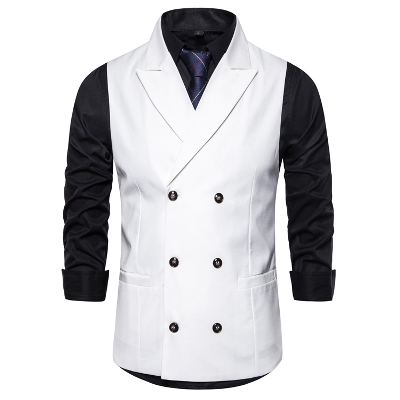 Fashion Double Breasted White Vest Men 2020 Spring New Peak Lapel Suit Vests Mens Wedding Groom Tuxedo Waistcoat Male Chalecos