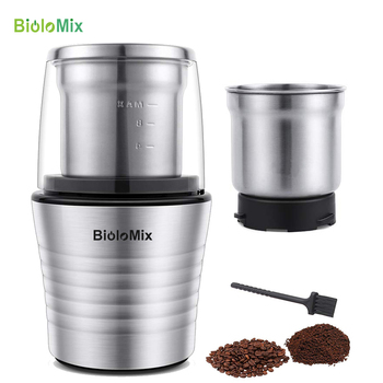 2-in-1 Wet and Dry Double Cups 300W Electric Spices and Coffee Bean Grinder Stainless Steel Body and Miller Blades 1