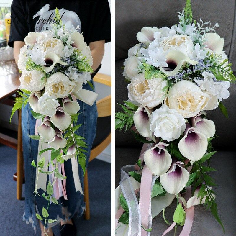 Peorchidée belle Calla lys Bouquet de mariage cascade Ramo Novia artificielle pivoine soie fleur Bouquet ivoire violet