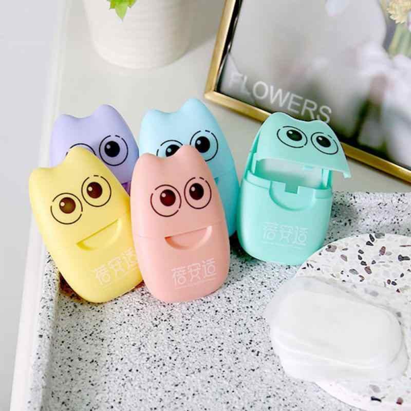 Jabón de viaje para 20 piezas, papel para lavar las manos, baño limpio, hojas perfumadas para rebanadas, 20 piezas, jabón de caja desechable, Mini jabón de papel portátil TSLM1