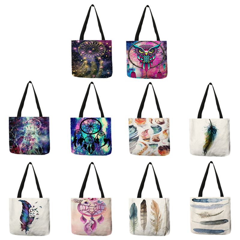 Watercolor Feather Dream Catcher Print Handbag For Women 201 Lady Casual Office School Shoulder Bag Durable Shopping Bags Tote