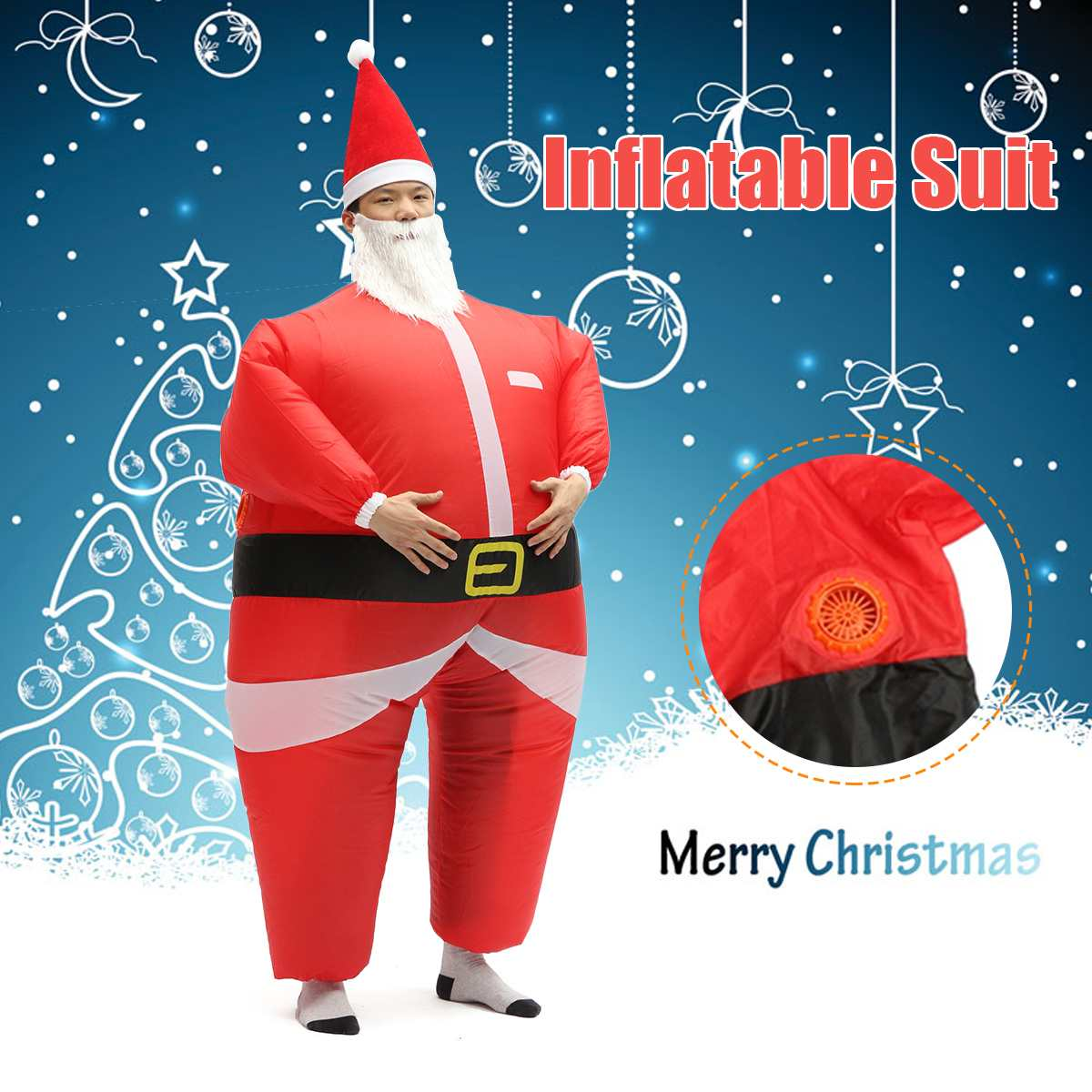 Adult Inflatable Santa Claus Blow Up Costume Fancy Party Dress Suit Outfit Red Suit Santa For Christmas