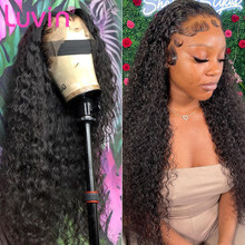 Luvin 4x4 fechamento peruca encaracolado onda profunda do laço frontal perucas parte profunda brasileiro barato peruca dianteira do cabelo humano pré arrancado cabelo do bebê