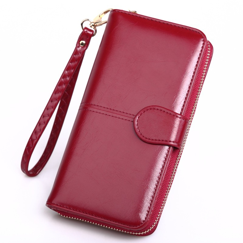 Leather Women's Wallets New Solid Color Large Capacity Purses For Women Coin Purses Female Retro Long Zipper Wallet Phone Bag