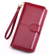 Leather Women's Wallets New Solid Color Large Capacity Purse