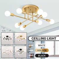 Smuxi 6/8 cabeça led industrial ferro luz de teto sala estar iluminação teto nordic 220 v e27 simples e moderno lâmpada led