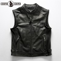 Motorcycle Club Leather Vest Mens Hollow Out Breathable Cowhide Perforated Waistcoat Zip Genuine Leather Sleeveless Jacket Vests