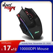 Zelotes ratón C 13 con cable para videojuegos, dispositivo con 13 teclas de programación ajustables, Correa ligera RGB de 10000DPI, con mecanismo de contrapeso incorporado