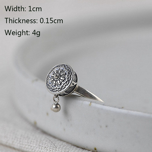 Image 3 - BALMORA 100% Real 925 Sterling Silver Buddhist Rings For Women Lady Rotating Ring Tibetan Prayer Mantra Ring Good Luck Ring Gift