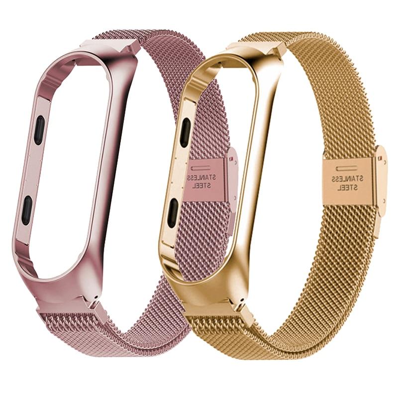 Strap For Xiaomi Mi Band 4 3 Wrist Metal Bracelet Screwless Stainless Steel For Xiaomi Mi Band 3 Strap Wristbands Pulseira Belt