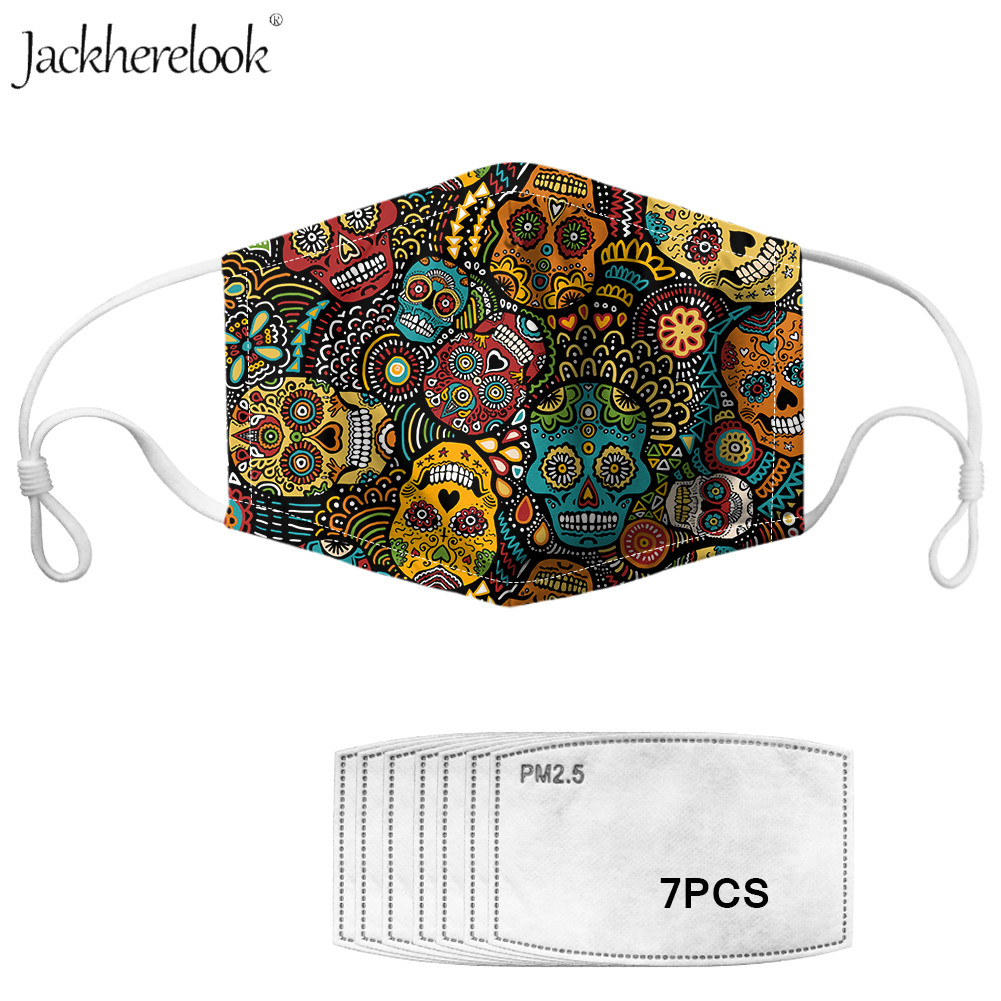 7pcs Anti Haze Carbon Filter And Face Mask Sugar Skull Prints Cotoon Face-muffle Outdoor Dustproof Face Care Mask Colorful Skull