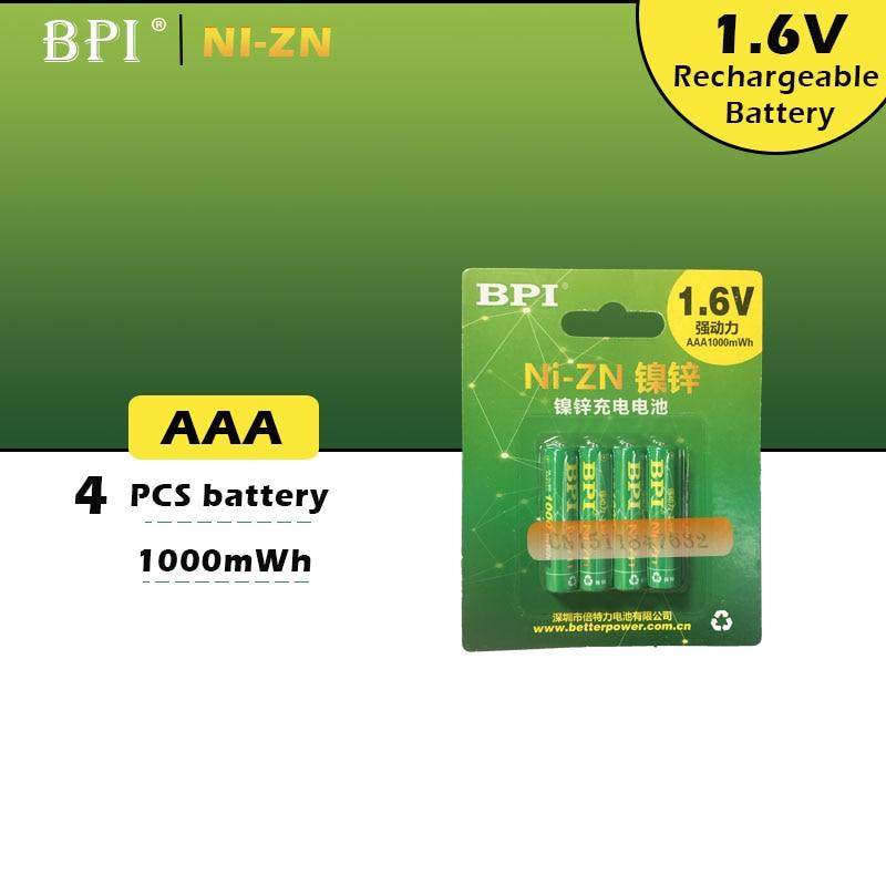 4 pièces/lot Original nouveau BPI AAA 1000mWh 1.6V 1.5V ni-zn NI Zn NIZN aaa faible autodécharge batterie rechargeable 1.5V
