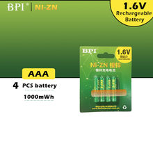 Nouvelle batterie BPI AAA 1000mWh 1.6V 1.5V ni-zn NI Zn NIZN aaa, faible décharge automatique, 1.5V, 4 pièces/lot