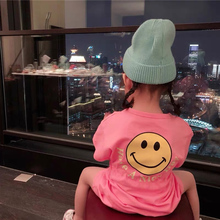 цена на summer dress graphic t shirts Casual cute smiley print T-shirt clothes Fun cotton short-sleeved top Loose round neck pink dress