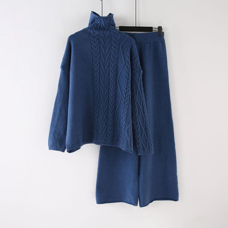 Winter Pullover Hohe Taille Hosen Zwei Stück Set Casual Frauen Rollkragenpullover Breite Bein Hosen Strick Anzug Lange Feste Outfits - 5
