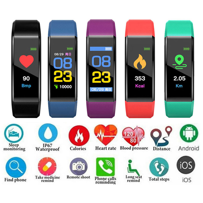 PK M4 Bluetooth Smart Band Bracelet Watch Heart Rate & Blood Pressure Monitor Call Reminder Fitness Tracker Sports Smartband