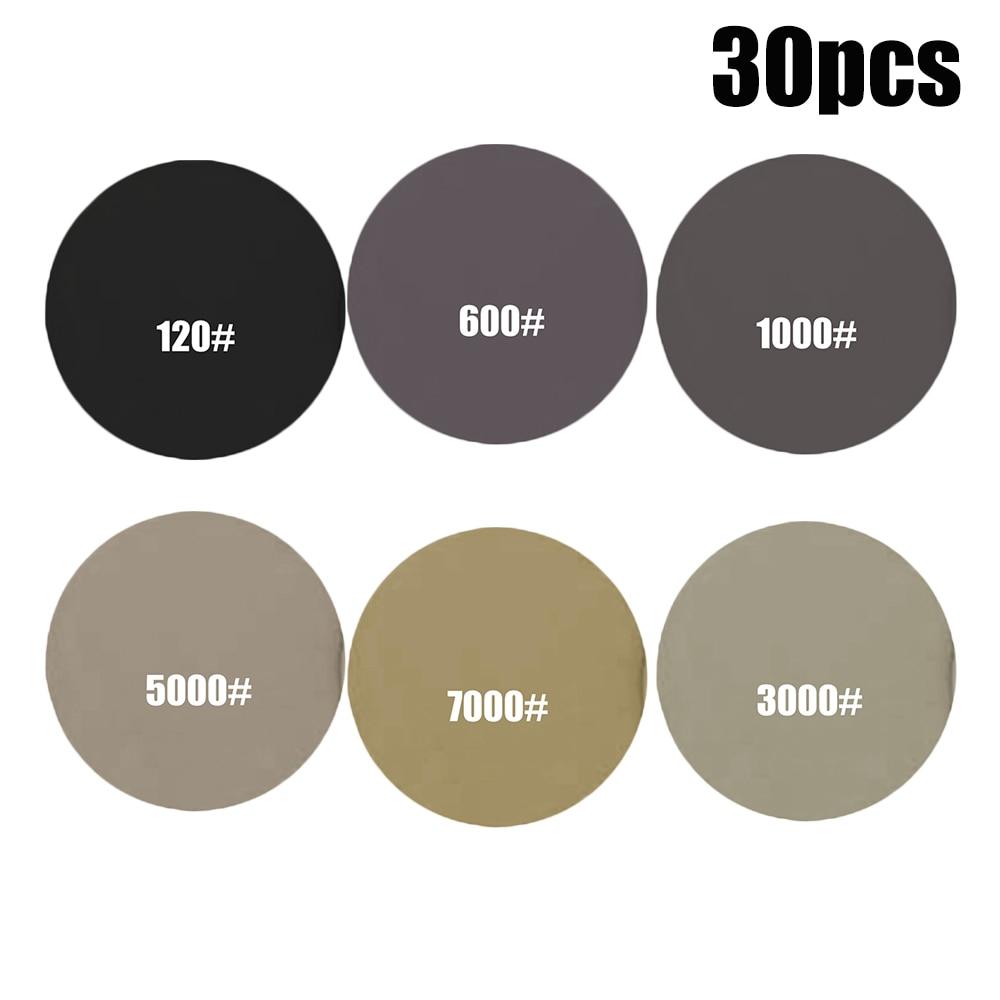 30pcs Hook Loop Sandpaper Polishing Grinding Wooden Furniture Artificial Stones Metals Wet Dry Abrasive Tools
