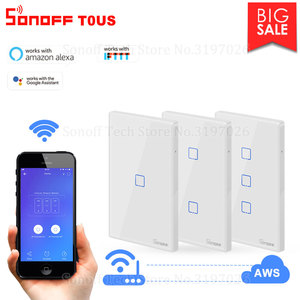 Image 1 - Itead Sonoff T0US 120 Size 1/2/3 gang TX Wall Switches Remote Controlled Wifi Switch With Border Works With Alexa Google Home