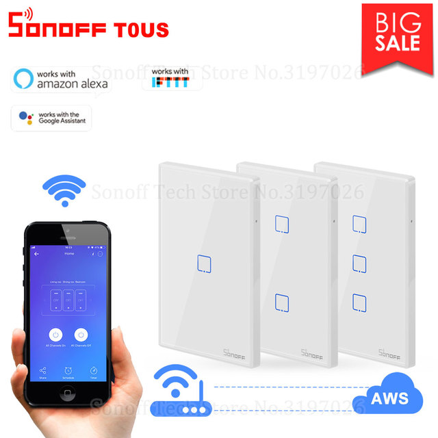 Itead Sonoff T0US 120 Size 1/2/3 gang TX Wall Switches Remote Controlled Wifi Switch With Border Works With Alexa Google Home