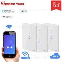 Itead Sonoff T0US 120 rozmiar 1/2/3 gang TX przełączniki ścienne zdalnie sterowany przełącznik Wifi z obramowaniem współpracuje z Alexa Google Home