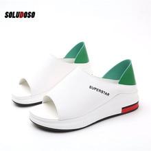 Plus Size Summer Casual Flat Women Sandals Sport Fashion Mixed Colors Slip-On PU Leather Non-slip Platform Beach Shoes