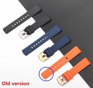 Image 5 - Qualidade da marca 20mm borracha macia silicone pulseira de relógio fivela moagem arenaceous cinto especial para omega cinta para seamaster 300 logotipos