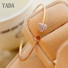YADA Gifts Open Bijoux Bracelets&Bangles For Women Stainless Steel Bracelets Crystal Jewelry Gold Heart Gift Bracelet BT200034