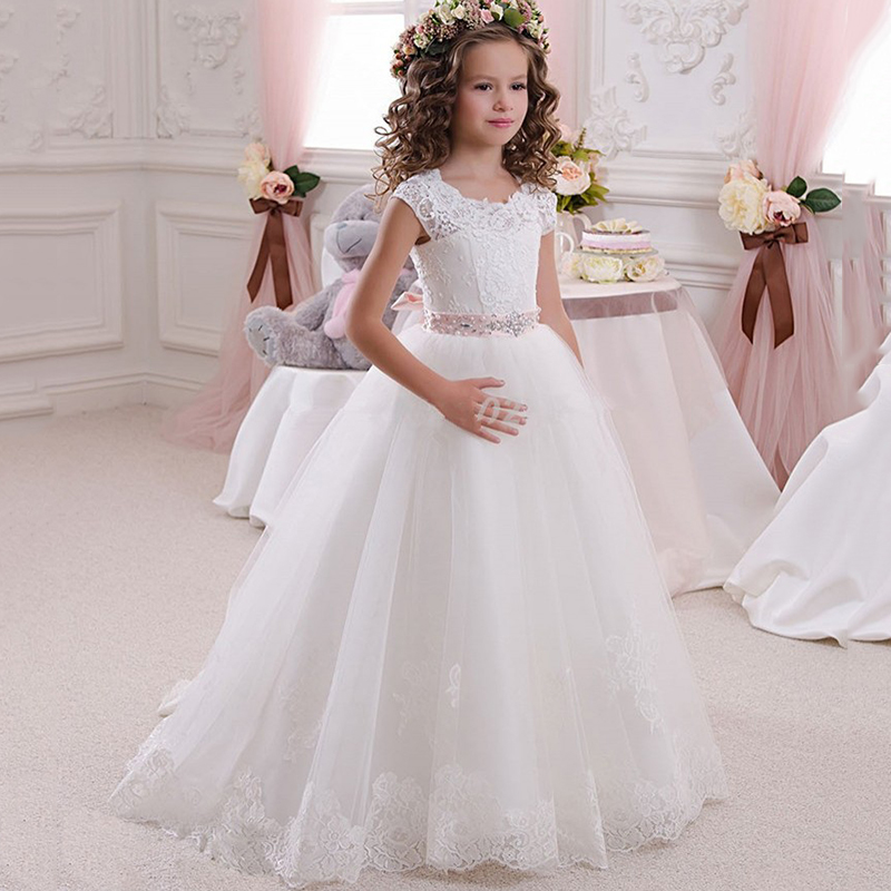 White Flower Girl Dresses For Weddings A-line Cap Sleeves Tulle Lace Beaded Long First Communion Dresses For Little Girls