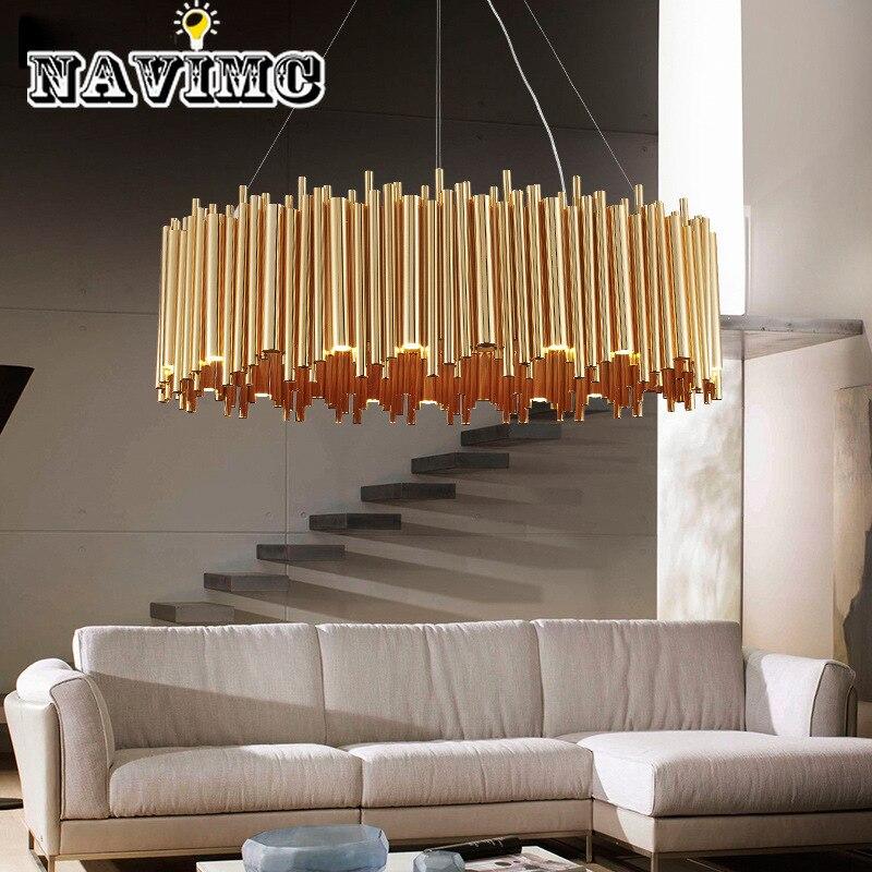 Tube en métal italien ovale rond Design créatif lustre pour Restaurant cuisine éclairage décoratif en couleur or