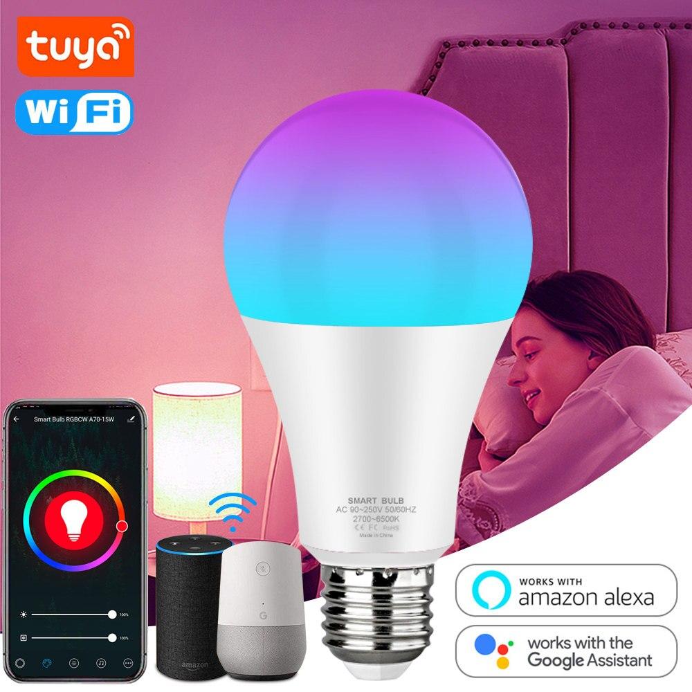 Tuya Smart Light Bulb WiFi LED Bulb 12w 15w E27 LED Lamp RGB+White+Warm White Work with Alexa Google Home Dimmable Timer APP