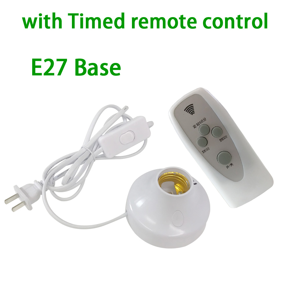 1.8m EU Plug E27 Socket LED Lamp Holder With Timed Remote Control Switch For UV Germicidal Lamp Disinfection LED Bulbs